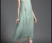 Đầm thêu hoa sen màu xanh ngọc - DQC41