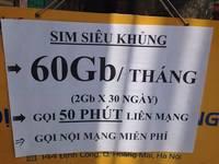 Sim 4G có 60GB vào mạng, nghe gọi miễn phí