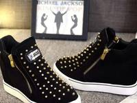 Giày sneaker cổ cao nạm đinh Mã: GC0223 - ĐEN