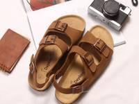 Giày 2 khóa đế trấu - Da Ruốc vàng Nam Nữ - Depkool