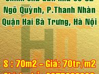 Cần bán nhà số 82 mặt ngõ Quỳnh, phường Thanh Nhàn, Quận Hai Bà Trưng, Hà Nội