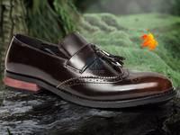 Giày tây công sở da thật - giày luigi chuông nâu - giày lười nam