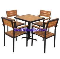 Các mẫu bàn ghế chân sắt mặt gỗ đẹp