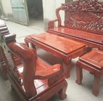 1 Bộ bàn ghế giả cổ rồng bát tiên gỗ xà cừ