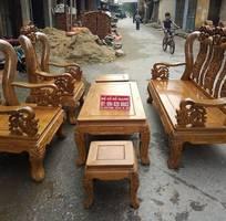 2 Bộ bàn ghế giả cổ trạm hoa lá tây tay 12 gỗ lim