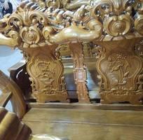 5 Bộ bàn ghế giả cổ trạm hoa lá tây tay 12 gỗ lim