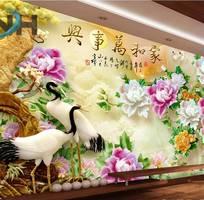 Gạch tranh 3d chim hạc sứ ngọc
