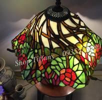 1 Đèn Nấm Tiffany Họa Tiết Hoa Hồng