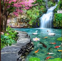 Tranh gạch 3d hồ nước - thác nước - tranh phong cảnh