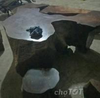Bàn ghế gỗ nguyên khối chu nao chu khét 2 khối