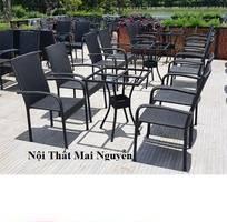 1 Bộ bàn ghế nhựa giả mây sân vườn xưởng cung cấp giá rẻ-mn