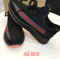 2 Giày sneaker thể thao nam đen viền hông xám đỏ đế cam Mã 0013