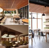 3 Thiết kế nhà hàng, tiệm coffee với gỗ nhựa sinh thái Nhựa Việt Pháp