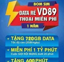 Bán Sim 4G Vina VD89 1 năm - Giá 479k/Sim - 720Gb/năm   60Gb/tháng   2Gb/ngày   gọi miễn phí