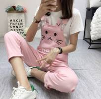 2 Quần yếm kaki mặt mèo dễ thương mã: qd2023