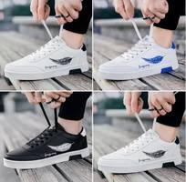 Giày sneaker thể thao nam cổ thấp - lông vũ - tặng 01 lọ tẩy giày