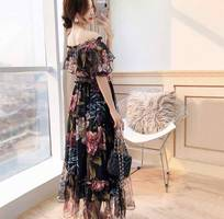 2 Đầm maxi hoa bẹt vai tay bèo
