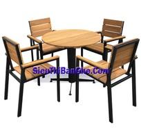 1 Các mẫu bàn ghế chân sắt mặt gỗ đẹp