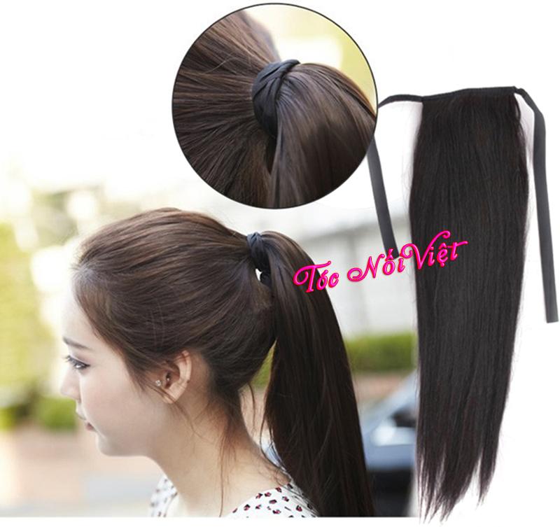 8 Tóc cột, tóc cột phím giả buộc đuôi ngựa bằng tóc thật, tóc nối kẹp