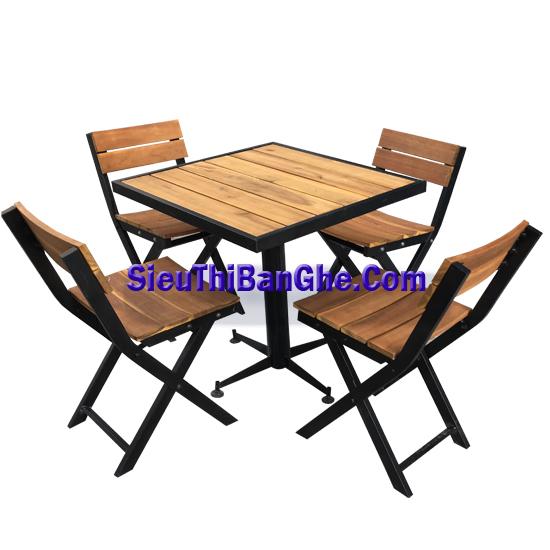 5 Các mẫu bàn ghế chân sắt mặt gỗ đẹp