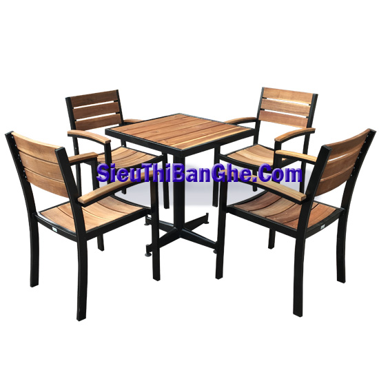 7 Các mẫu bàn ghế chân sắt mặt gỗ đẹp