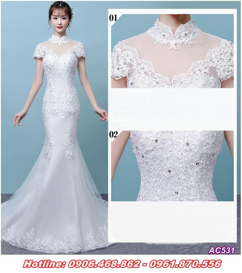 4 Váy cưới đuôi cá, chân ren xòe nhẹ tinh tế