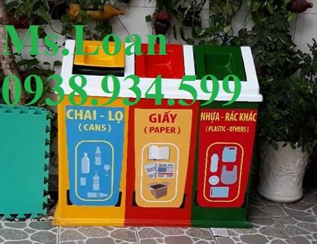 2 Thùng rác nhựa composite,thùng rác 3 ngăn dùng trong trường học,thùng rác đẹp