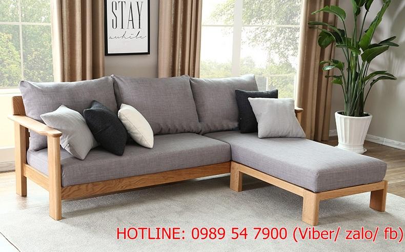 1 Sofa gỗ sồi.  Sofa gỗ góc L giá rẻ