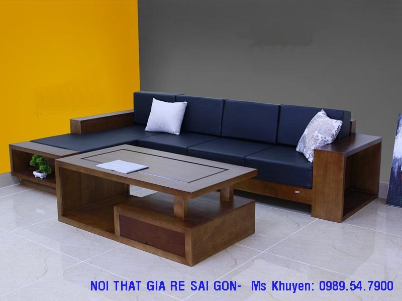 11 Sofa gỗ sồi.  Sofa gỗ góc L giá rẻ
