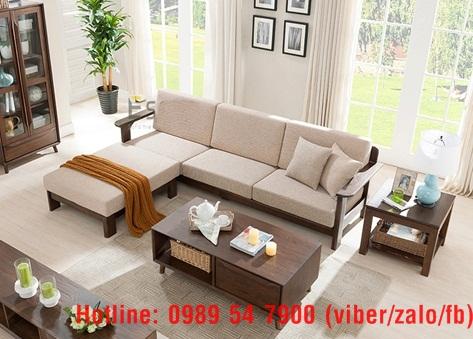 18 Sofa gỗ sồi.  Sofa gỗ góc L giá rẻ