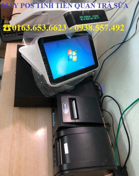 Combo máy pos tính tiền 3 màn hình cho quán Trà Sữa