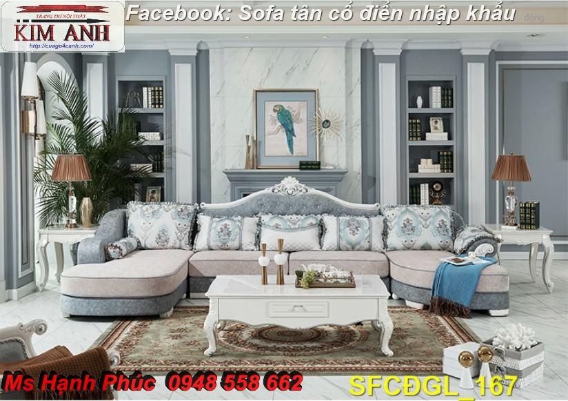 Sofa tân cổ điển góc chữ L đẹp, bán giá tại xưởng - Nội thất Kim Anh bảo hành 4 năm