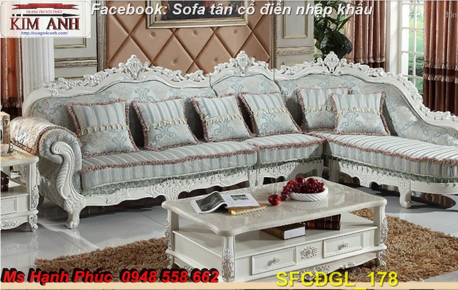 6 Sofa tân cổ điển góc chữ L đẹp, bán giá tại xưởng - Nội thất Kim Anh bảo hành 4 năm