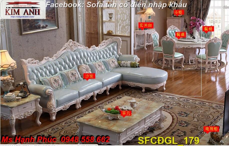 7 Sofa tân cổ điển góc chữ L đẹp, bán giá tại xưởng - Nội thất Kim Anh bảo hành 4 năm