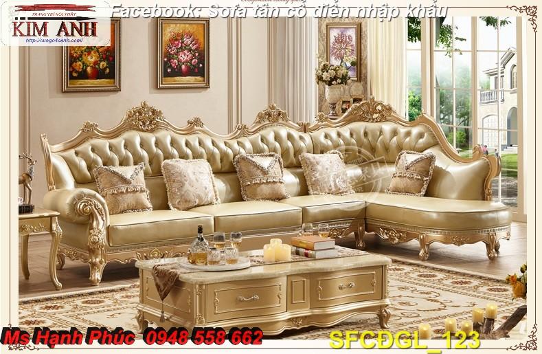 18 Sofa tân cổ điển góc chữ L đẹp, bán giá tại xưởng - Nội thất Kim Anh bảo hành 4 năm