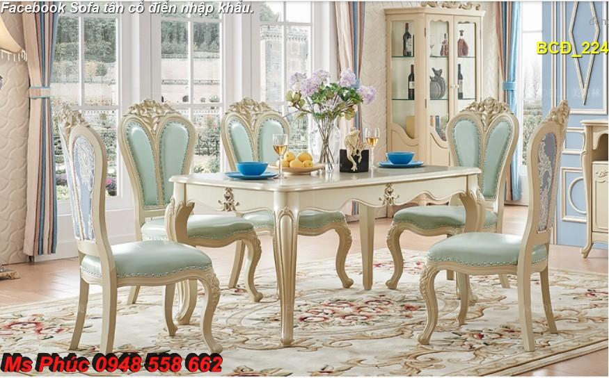 6 10 mẫu bàn ghế ăn tân cổ điển đẹp cho phòng ăn cao cấp, sang trọng phong cách châu âu
