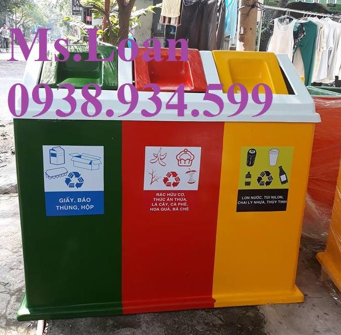 Thùng đựng rác 3 ngăn hình mái nhà,thùng rác 3 ngăn dùng trong trường tiểu học