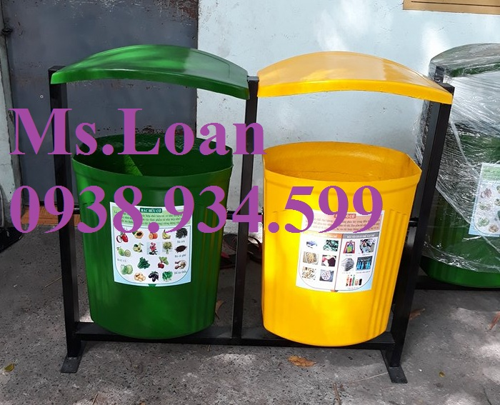 1 Thùng rác 3 ngăn ngoài trời,thùng rác dùng trong trường học,thùng rác công cộng