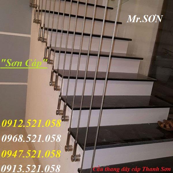 1 Cầu thang dây cáp, đẹp tinh tế.Tăng đơ ống inox D8,bộ hãm cáp inox D8,dây cáp inox,cáp bọc nhựa,rẻ.