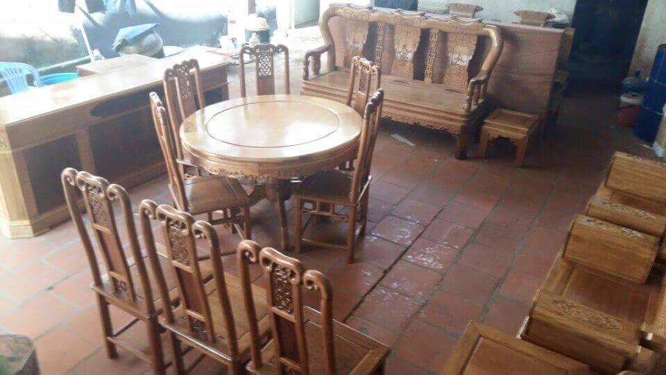 Bộ bàn ghế ăn kiểu bàn tròn gỗ Gụ, Bộ Bàn Ghế Ăn Tròn - gỗ sồi Nga và gỗ Xoan Đào