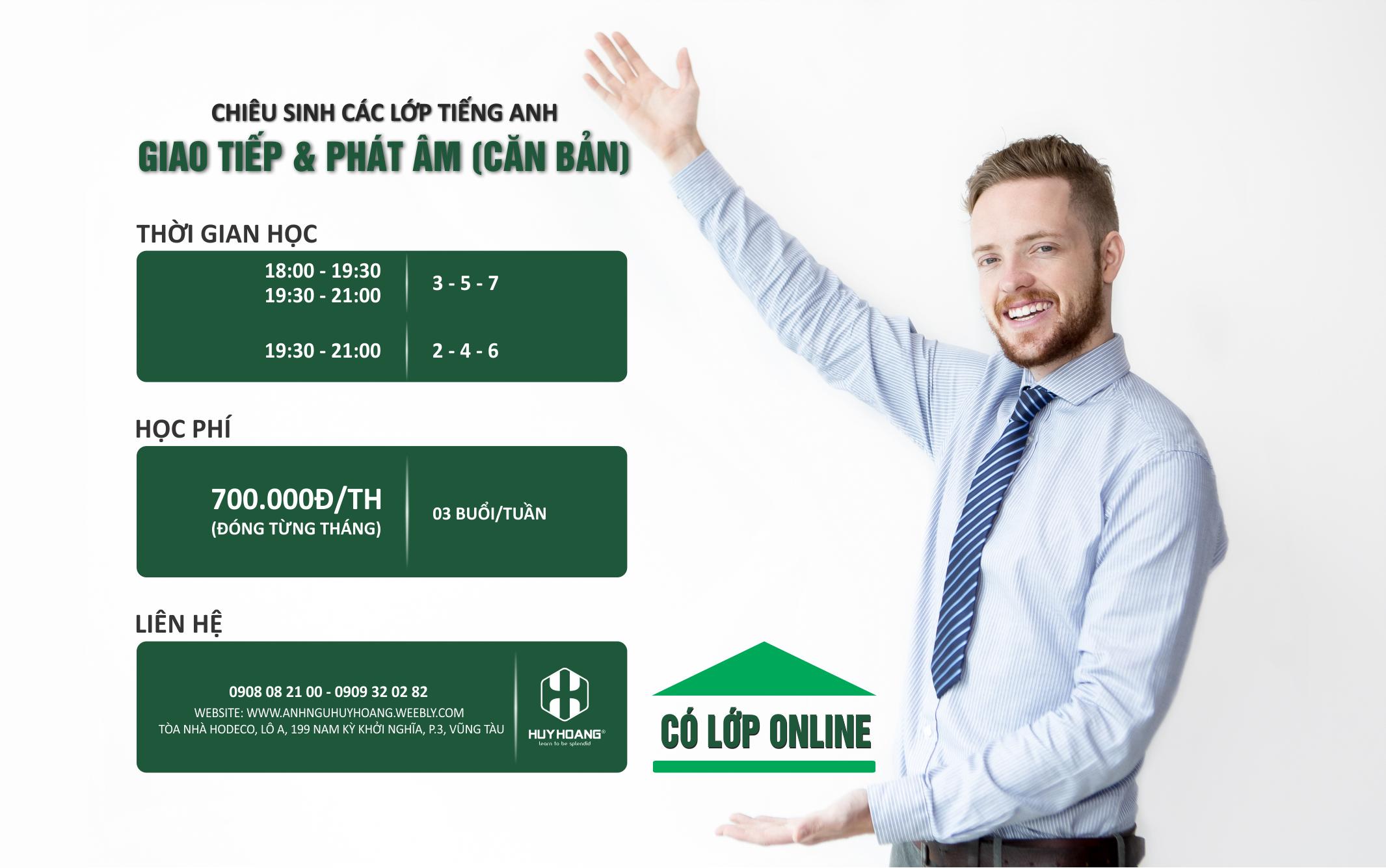 Lớp tiếng Anh giao tiếp, Phát âm chuẩn học phí mềm tại Vũng Tàu