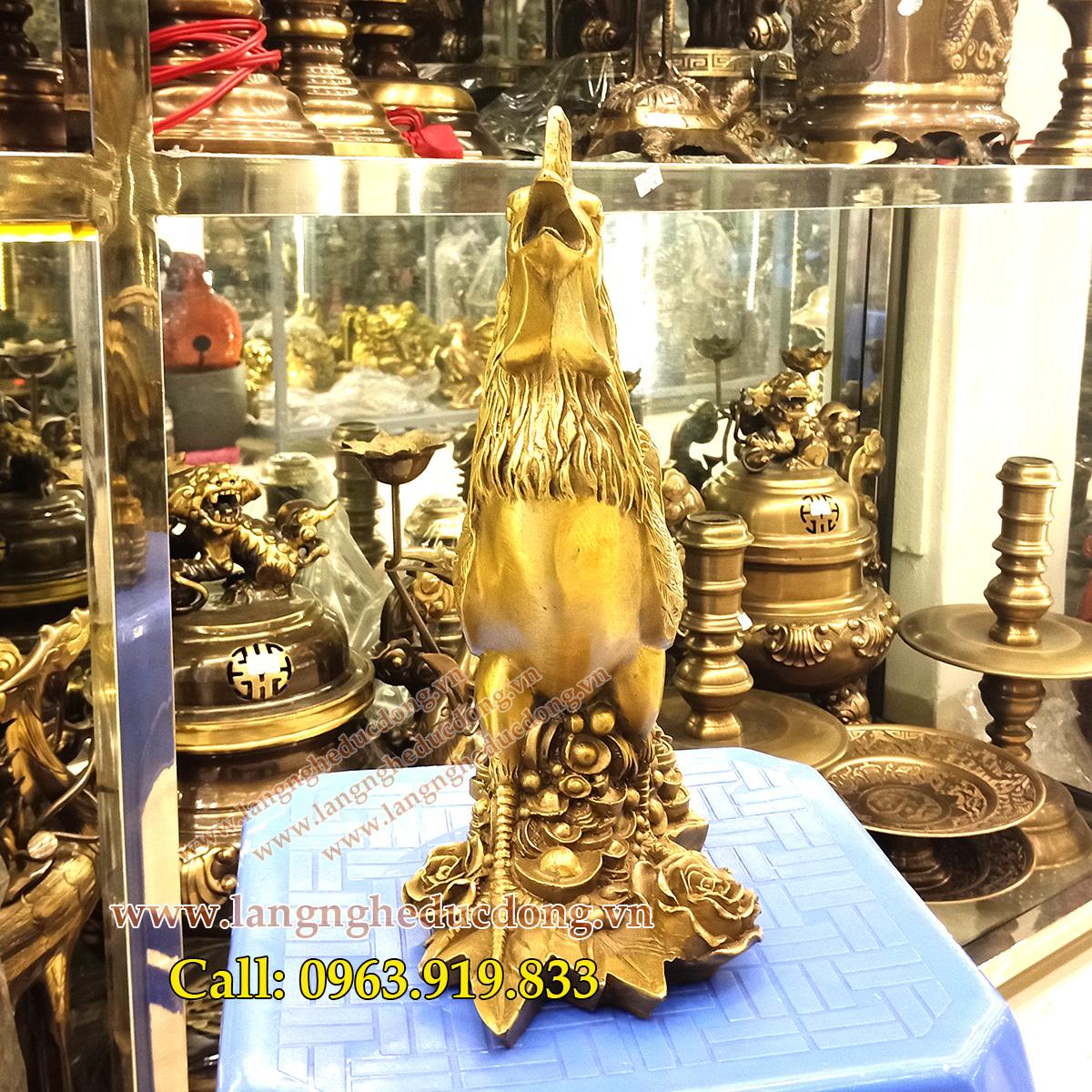 1 Tượng gà đồng 30cm đứng tiền và hoa hồng, tượng gà bằng đồng