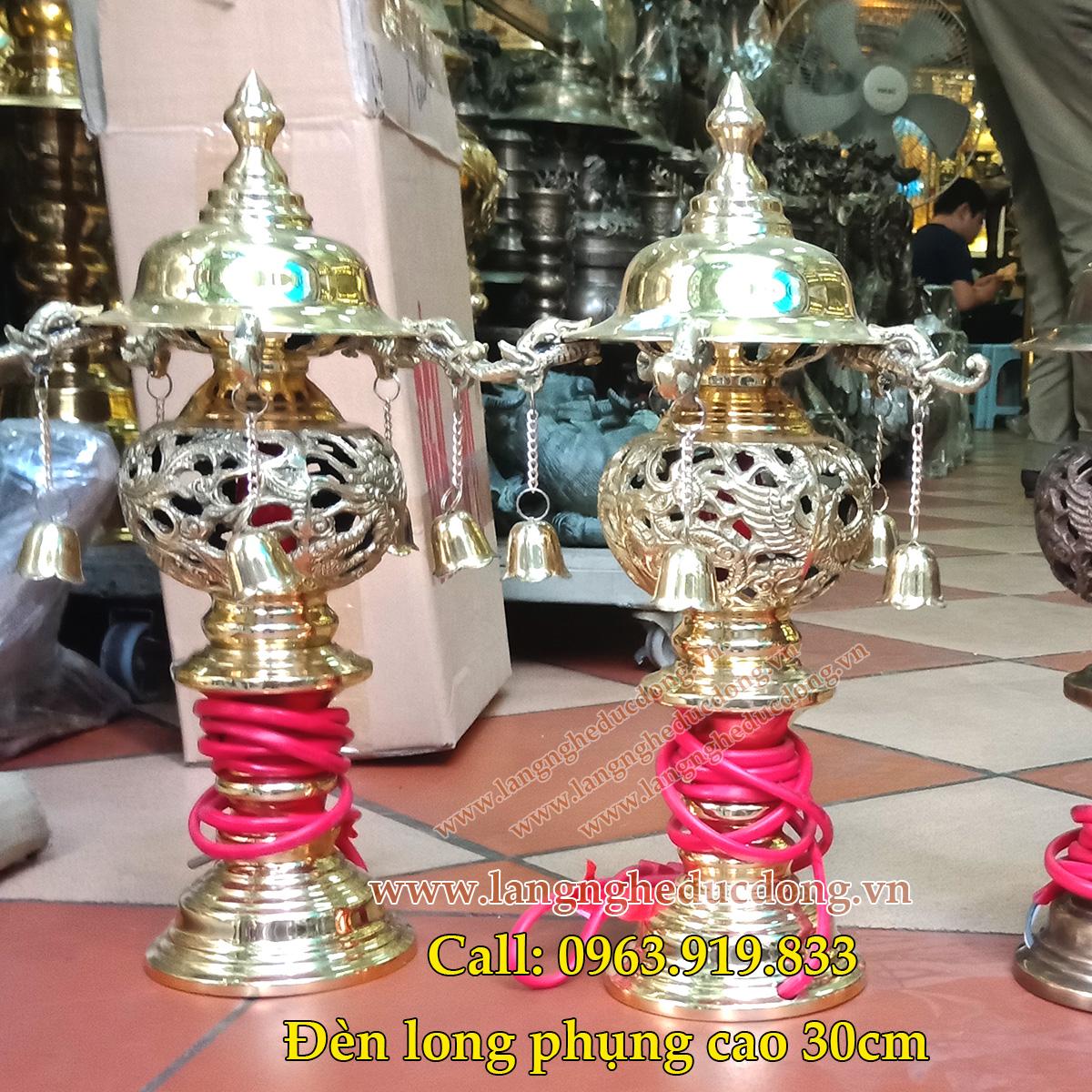 Đôi đèn thờ bằng đồng cao 30cm, den tho bang dong