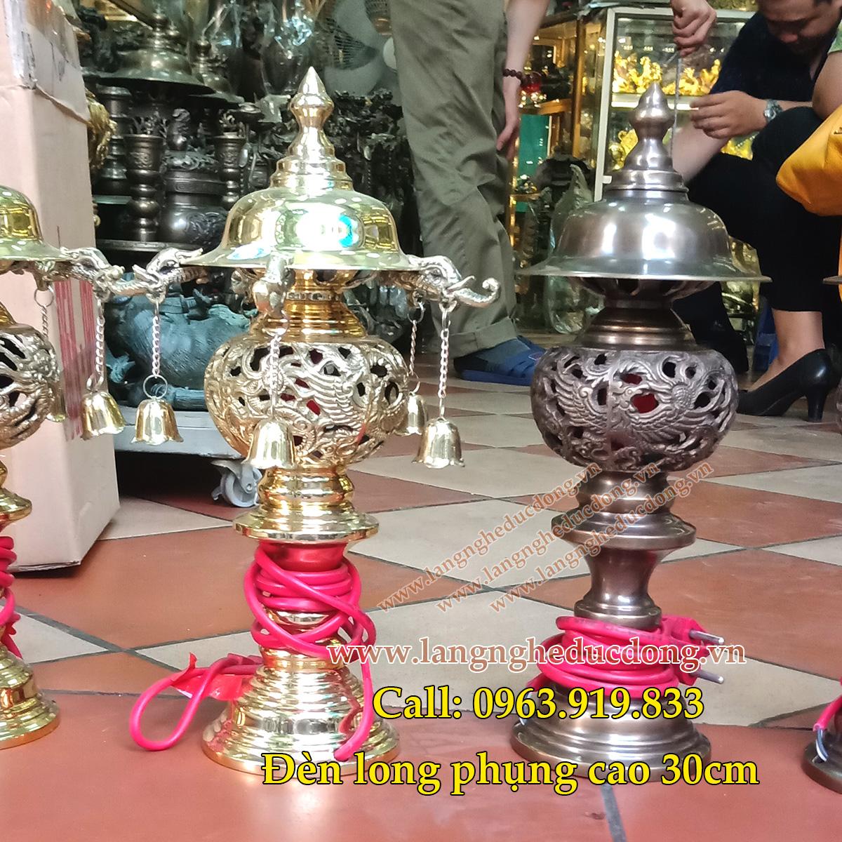 1 Đôi đèn thờ bằng đồng cao 30cm, den tho bang dong