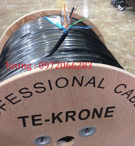 2 Cáp TE-KRONE Cat5E Copper CCA  ngoài trời có sợi thép cường lực cáp mạng