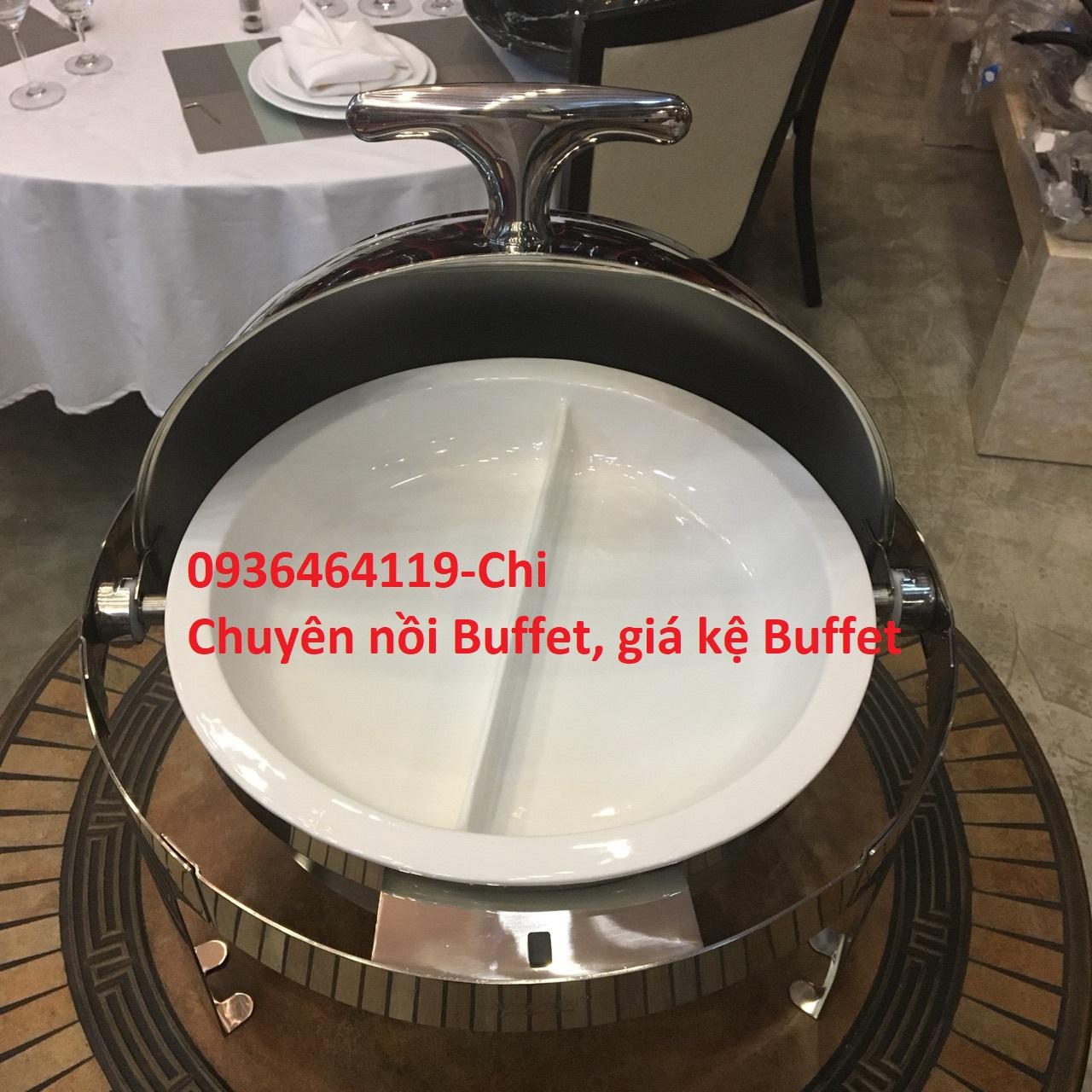 1 Nồi buffet kính, nồi hâm buffet hai ngăn giá rẻ