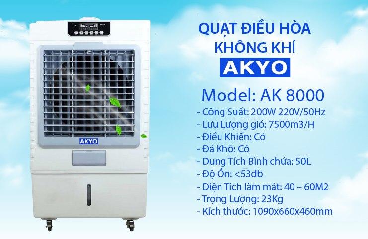 Quạt điều hòa không khí Akyo Ak8000 nhập khẩu Thái Lan cống suất 200w làm mát nhanh chóng