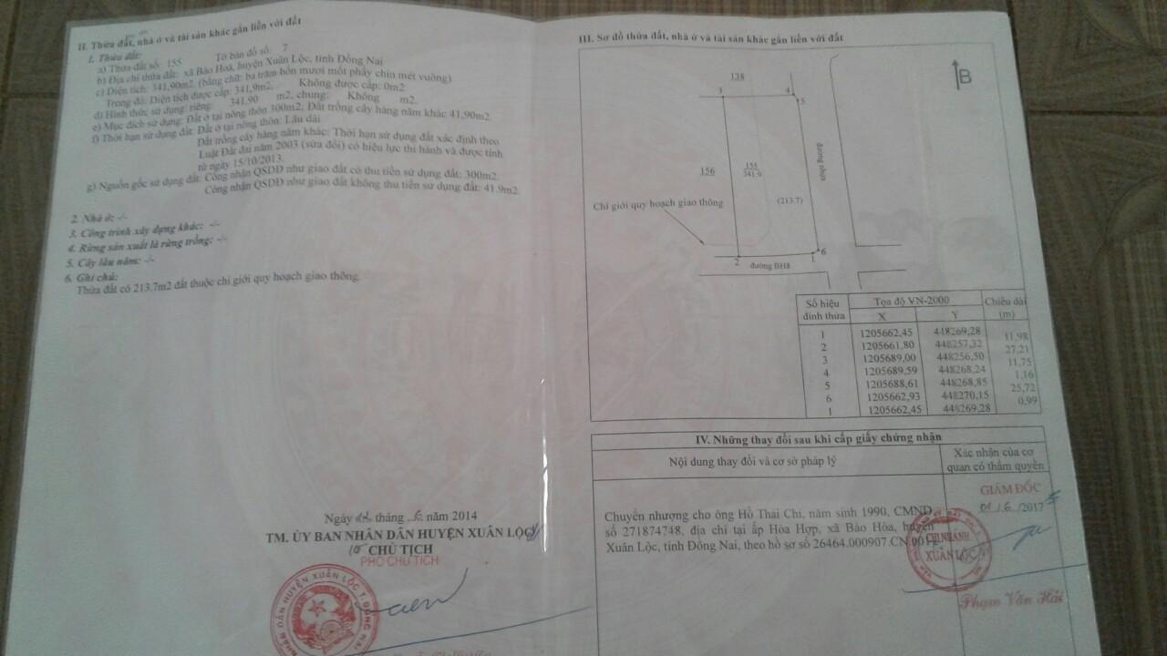 5 Bán nhà và đất 342m2 vị trí đẹp xã Bảo Hòa, huyện Xuân Lộc, 2,6 tỷ