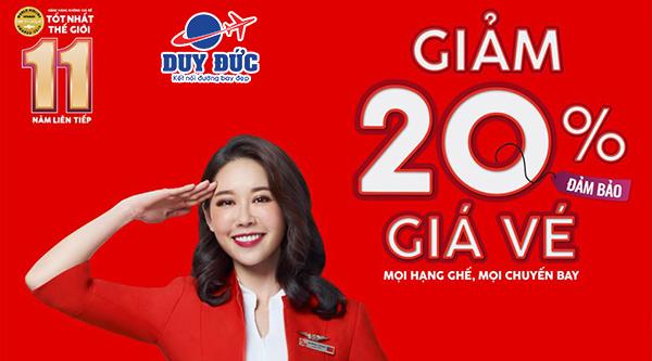 Hãng hàng không giá rẻ AirAsia siêu khuyến mãi giảm 20 giá vé
