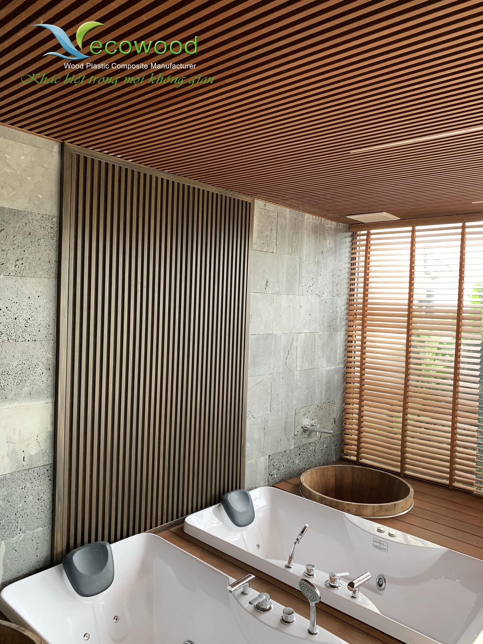 3 Tấm ốp tường trần gỗ nhựa mã QBO-37B hệ ốp vật liệu sinh thái